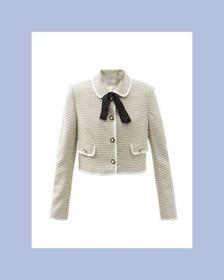 Faux-Pearl Button Checked Twill Jacket