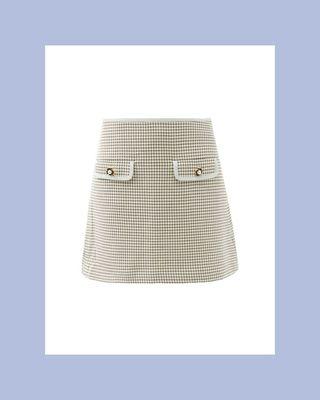 Faux-Pearl Button Checked-Twill Mini Skirt