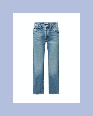 Hiker Hover Distressed High-Rise Straight-Leg Jeans