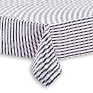 Blue and White Stripe Tablecloth