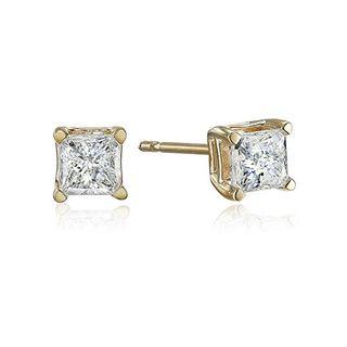 10k Yellow Gold Princess Diamond Stud Earrings (0.5 carats)