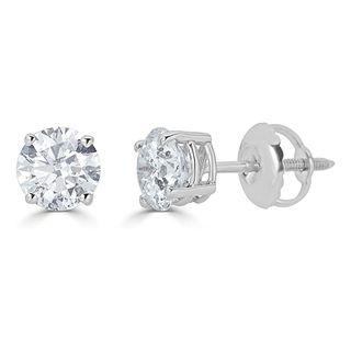 14k White Gold Diamond Round-Cut Stud Earrings (0.25 carats)