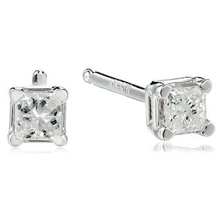 10k White Gold Princess Diamond Studs (0.13 carats)