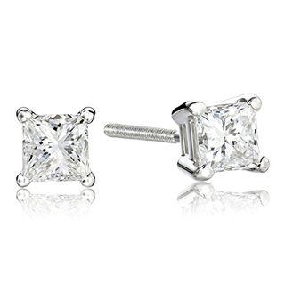 Platinum Princess Diamond Stud Earrings (1 carat)