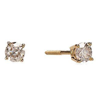 14k Yellow Gold Round-Cut Diamond Stud Earrings (0.33 carats)