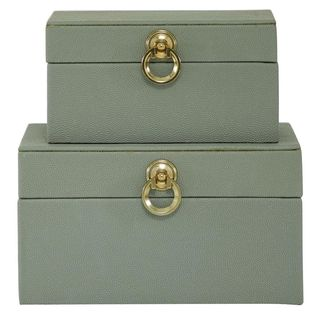 Grey Faux Wood Boxes with Gold Detail