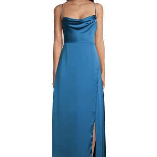 The Rosabel Cowlneck Spaghetti-Strap Gown