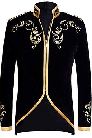 Black Velvet Gold Embroidery Blazer