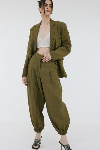 Linen Suit Joggers, Khaki