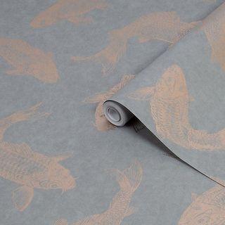 Boutique Grey Pisces Metallic Wallpaper