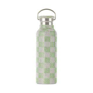 Green & White Rhinestone Bottle