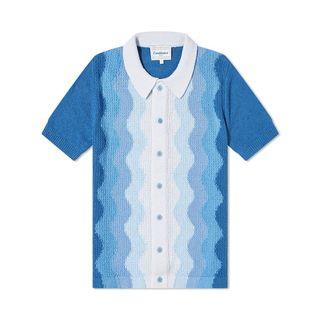 Blue Boucle Knit Polo Shirt