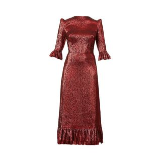 Falconetti metallic silk-blend maxi dress