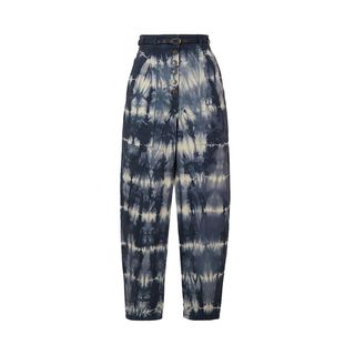 Apollo belted tie-dyed high-rise tapered jeans