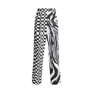 Check and Wave Relaxed Pants