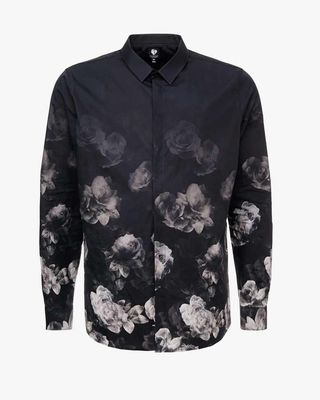 Gray shirt with flowers