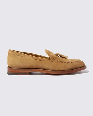 Camel suede loafers