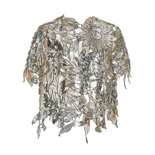 Floral Cut-Out Sequin Embroidered Top