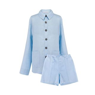 Azure Blue Linen Pajama Set