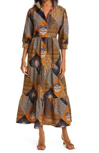 The Oula Company Print Tiered Dress