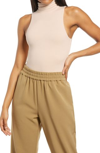 RE ONA Sleeveless Turtleneck Thong Bodysuit