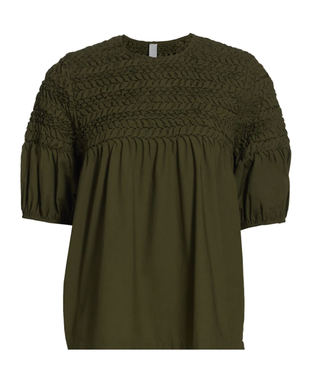 Smocked Short-Sleeve Blouse