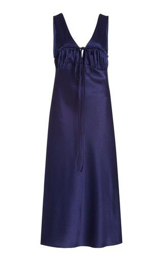 Bow satin midi dress
