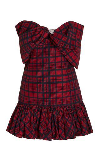 Tilson checked taffeta mini dress