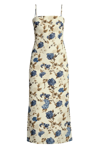 Mixed-flower midi dress with straps at the back