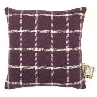 Country Living Wool Check Cushion, Grape