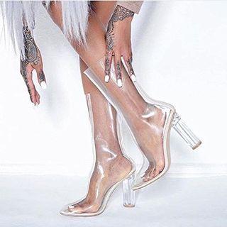 Ella-1 Women's Clear Perspex Dress Boots