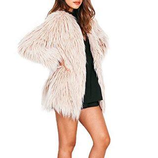 Simplee Apparel Women's Long Sleeve Fluffy Faux Fur Warm Coat