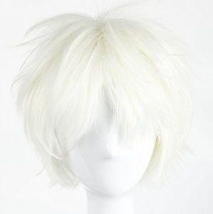 Short Fluffy Straight Hair White Wig