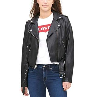Women's Faux Leather Belted Motorcycle Jacket