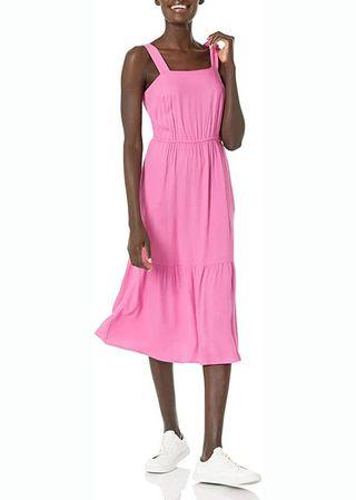 Fluid Twill Tiered Midi Summer Dress