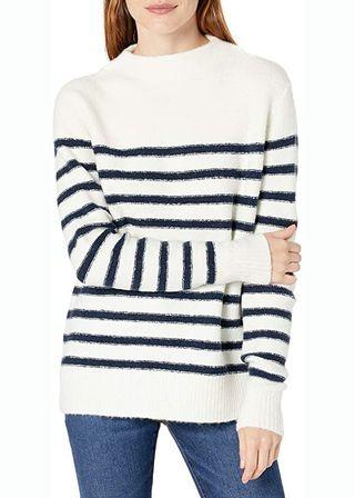 Striped Mock Neck Cozy Sweater
