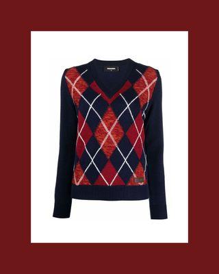 Argyle Intarsia-Knit Jumper