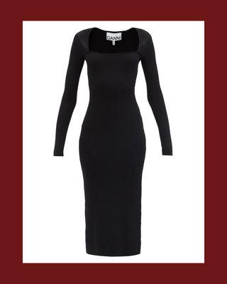 Square-Neck Ribbed-Knit Midi Dress