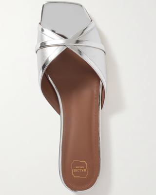 Claquettes Perla 10 en cuir métallisé bicolore