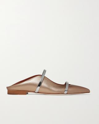 Chaussures plates à bout pointu en cuir métallisé Maureen
