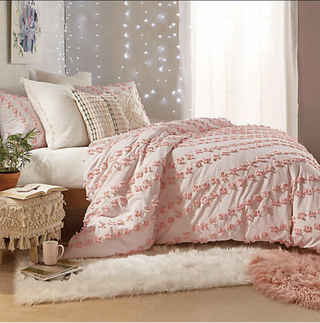 Peri Home Space Dyed Fringe 2-Piece Twin XL Duvet Cover Set in Blush