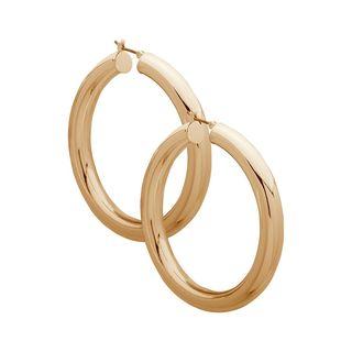 Gold-Tone Tubular Hoops