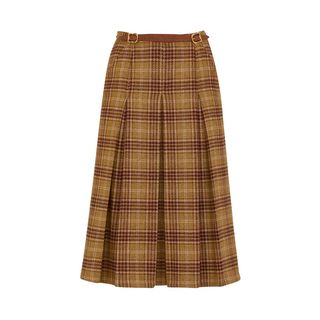 Pleated Checked Wool Skirt