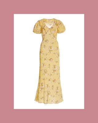 Long silk dress with daisy print and ruffles