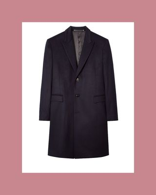 Navy wool and cashmere Epsom coat