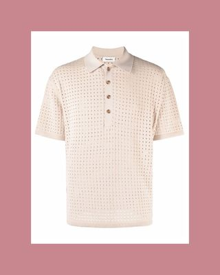 Perforated Knit Polo Top