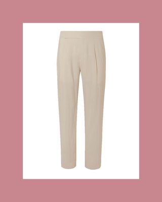 Pleated silk-blend suit trousers