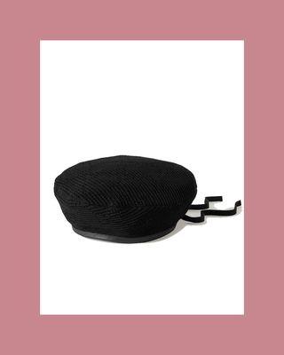 Malibu leather-trimmed crochet beret