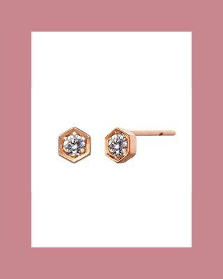 Small Hexagonal Diamond Stud Earrings