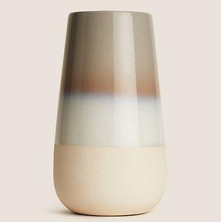 Grand vase cylindrique à glaçure réactive